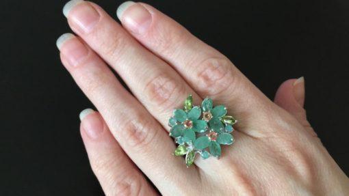 Изумрудное кольцо в серебре