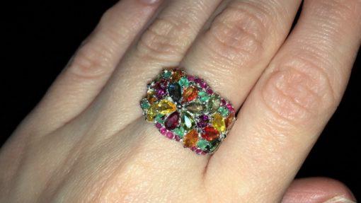 Серебряное кольцо с мультисапфирами