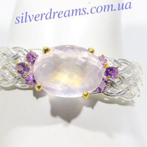 Дизайнерский браслет с розовым кварцем в серебре