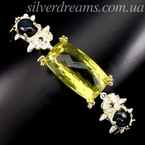 Серебряный браслет с лимонным кварцем и звёздчатыми сапфирами