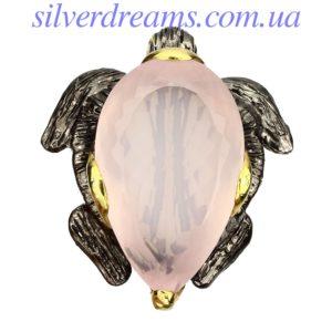 Серебряная брошь Черепаха с розовым кварцем