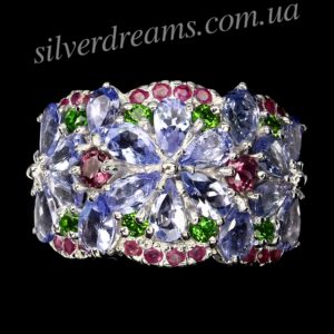Серебряное кольцо Танзанит-Родолит-Диопсид-Рубин
