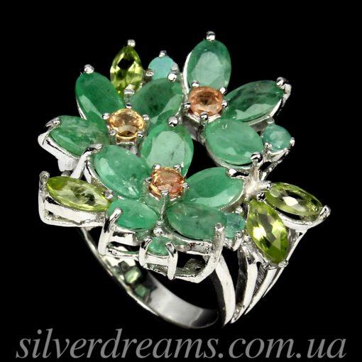 Коктейльное кольцо с изумрудами в серебре