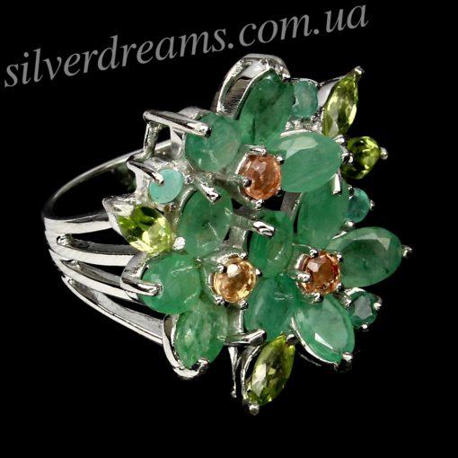 Серебряное кольцо Изумруд-Сапфир-Хризолит