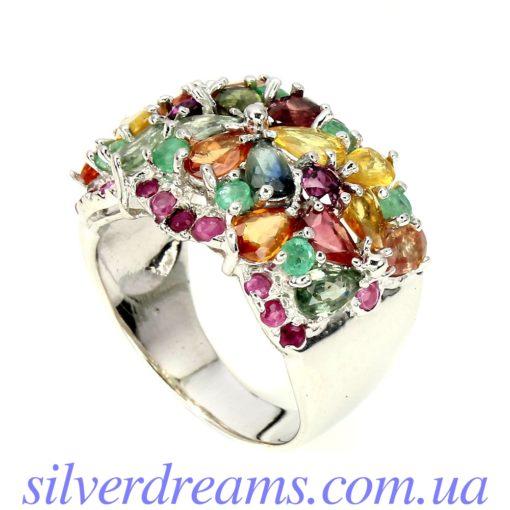 Серебряное кольцо Мультисапфир-Изумруд-Рубин