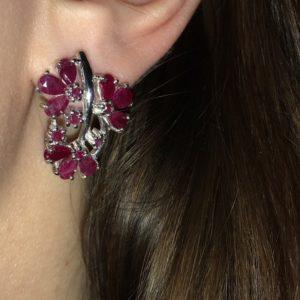 Серебряные серьги с рубинами