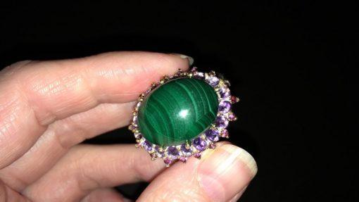 Дизайнерское кольцо с малахитом в серебре