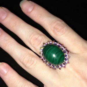 Малахитовое кольцо в серебре
