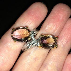 Аметриновый перстень в серебре