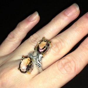 Серебряное кольцо с аметринами