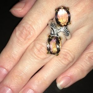 Кольцо с крупным аметрином в серебре