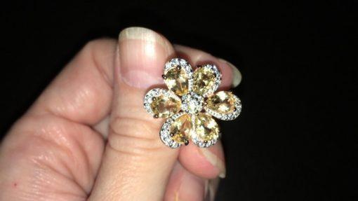 Серебряное кольцо цветок с цитрином