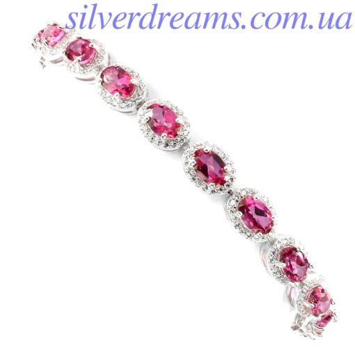 Браслет с розовым топазом в серебре