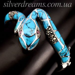 Серебряный браслет Змея с бирюзой и марказитами
