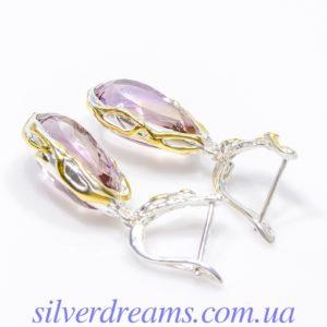 Серебряные серьги с крупным аметрином
