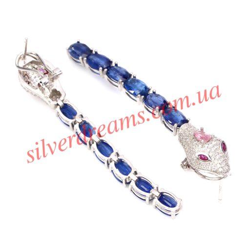 Серебряные серьги с кианитом