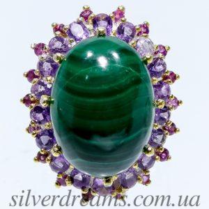 Серебряное кольцо Малахит-Аметист-Родолит