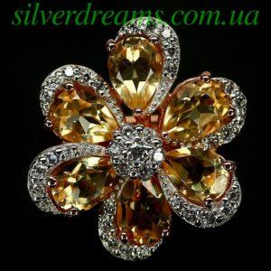 Цитриновое кольцо в серебре с позолотой