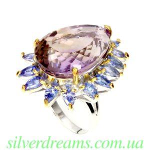 Серебряный перстень с аметрином и танзанитами