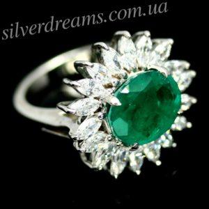 Серебряное кольцо с дублет-изумрудом