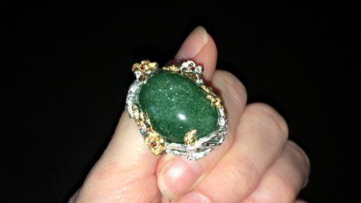 Серебряный перстень с крупным авантюрином