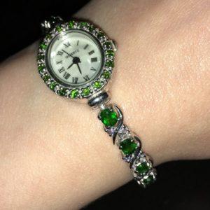 Серебряные часы/браслет Хромдиопсид & Танзанит