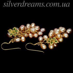 Серебряные серьги с розовым жемчугом