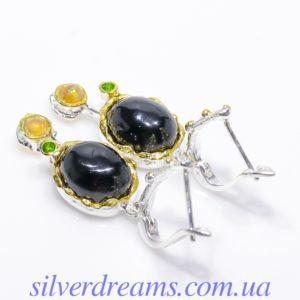 Серебряные серьги с чёрной шпинелью