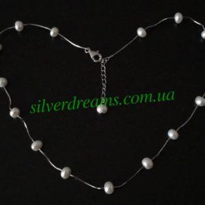 Серебряное ожерелье/браслет с жемчугом