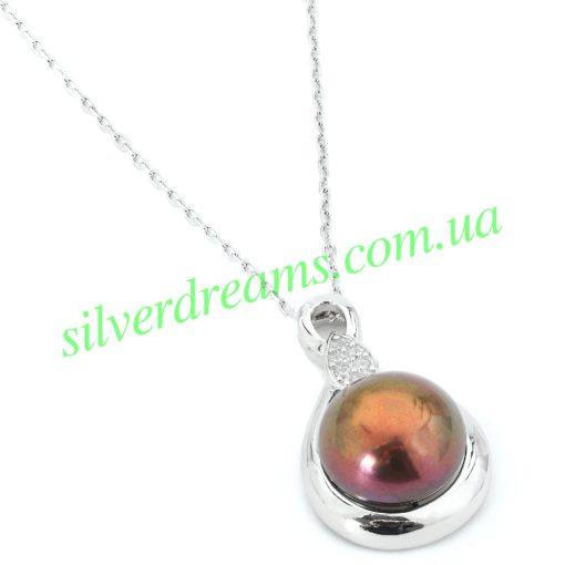 Серебряное колье с чёрной жемчужиной