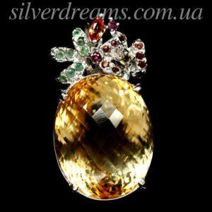 Серебряный кулон с крупным цитрином