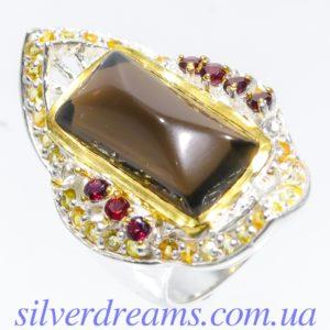 Серебряный перстень с крупным раухтопазом