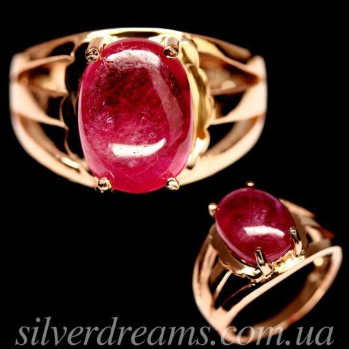 Серебряное кольцо с крупным гладким рубином