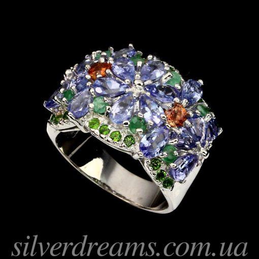 Серебряное кольцо с танзанитами и мульти