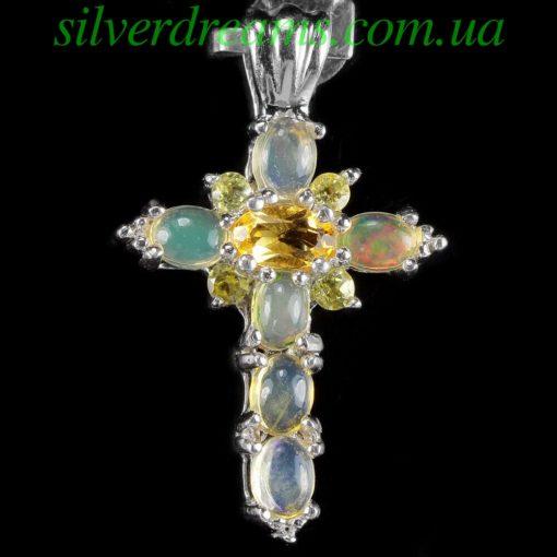 Серебряный кулон Крестик с опалами и цитринами