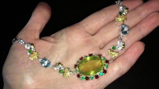 Серебряный браслет с лимонным кварцем и мульти