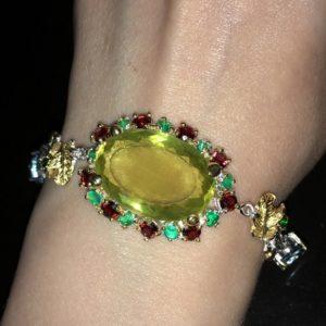 Серебряный браслет с крупным лимонным кварцем