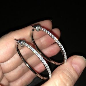Серебряные серьги-кольца с фианитами
