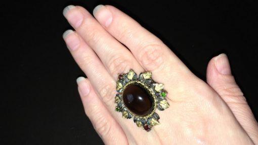Серебряное кольцо с крупным раухтопазом