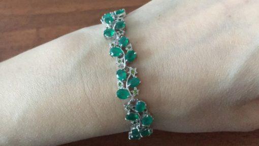 Серебряный браслет с зелёным агатом