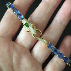 Серебряный браслет Змея с кианитами