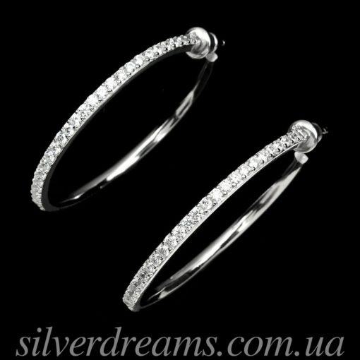 Серьги-кольца из серебра