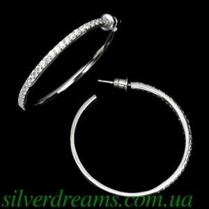 Серебряные серьги-кольца