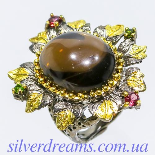 Дизайнерское кольцо с крупным раухтопазом