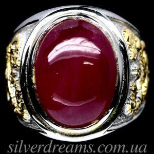 Серебряный перстень с крупным рубином