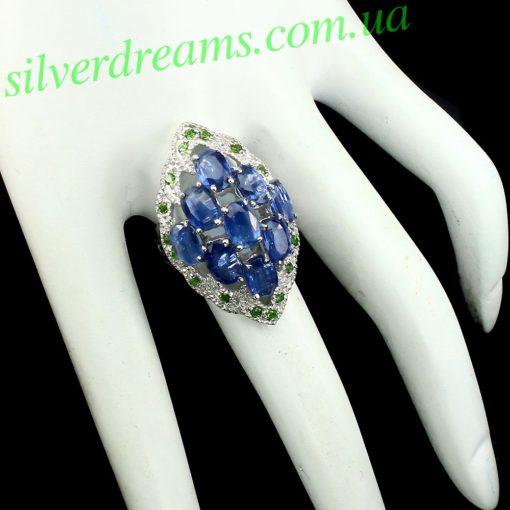 Серебряное кольцо Кианит & Диопсид