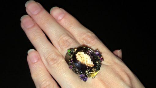 Серебряный перстень с крупным аметрином