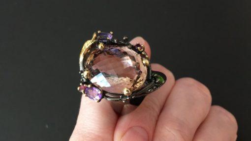 Авангардное кольцо с крупным аметрином в серебре