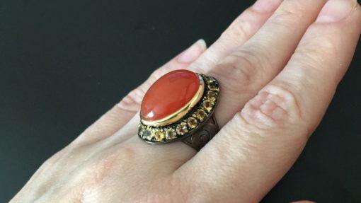 Серебряное кольцо Сердолик & Цитрин