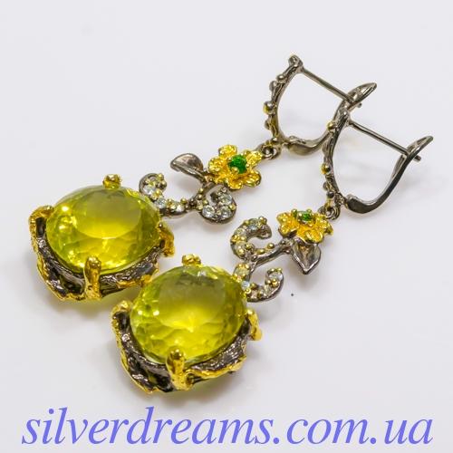 Серебряные серьги с лимонным кварцем